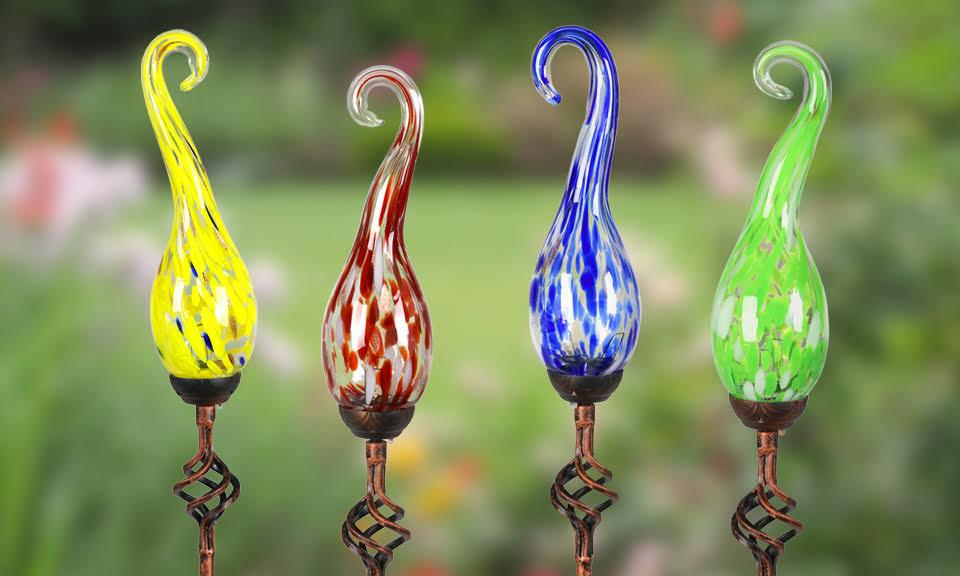 Exhart Solar Pearlized Glass Spiral Finial Garden Stake (Assorted)