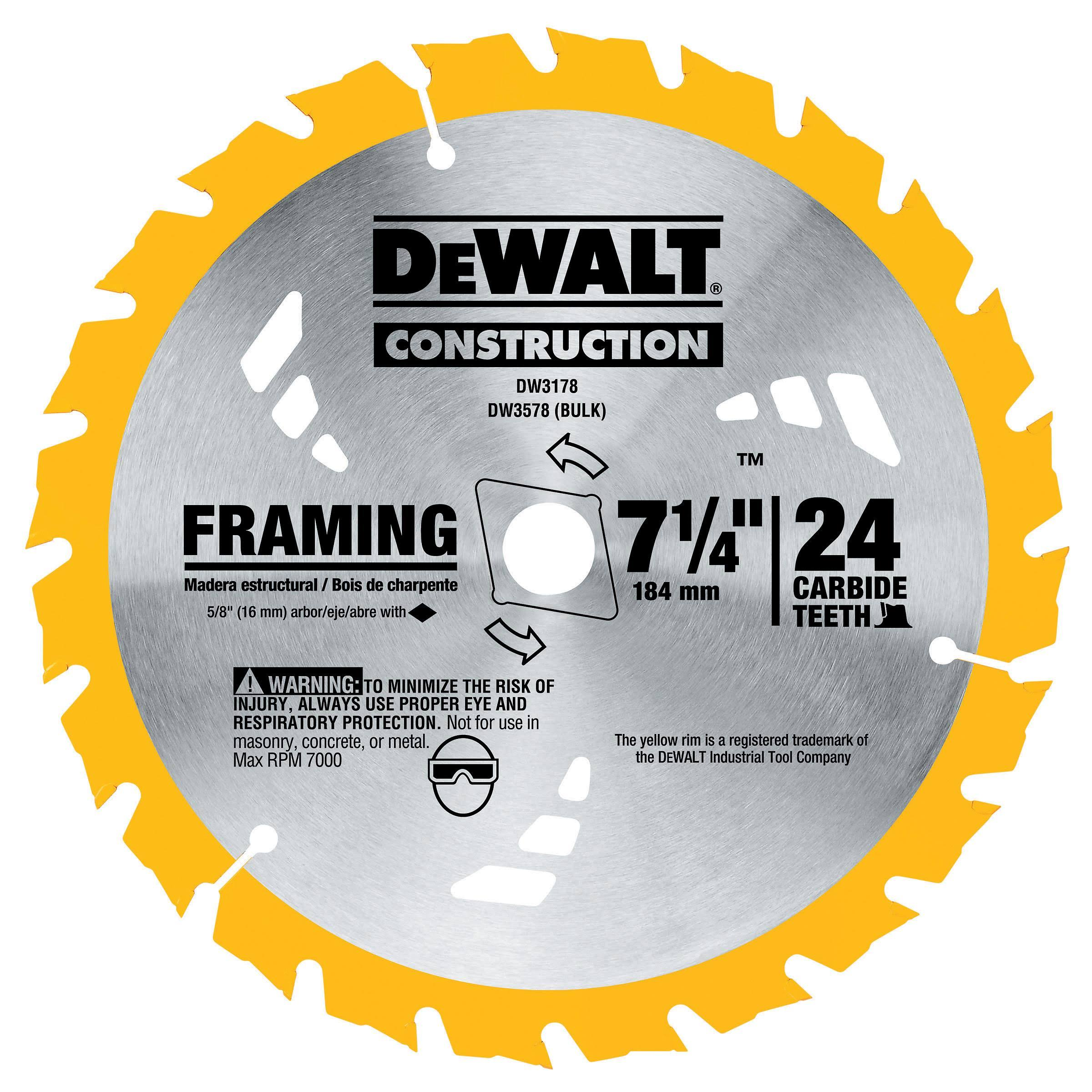 Dewalt Framing Circular Saw Blade - 24 Tooth