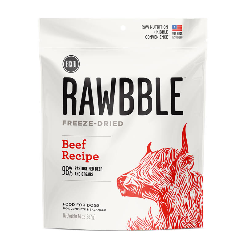 Bixbi Rawbble Freeze-Dried Beef Dog Food, 14 oz