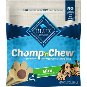 Blue Chomp 'n Chew Treats For Dogs, Mini - 4 chews, 7.07 oz