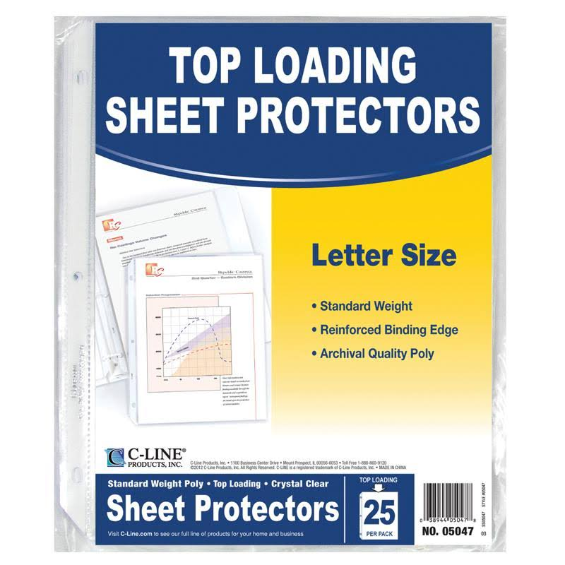 "C-Line Top Loading Standard Weight Poly Sheet Protectors - Clear, 8.5"" x 11"", 25 Sheets"