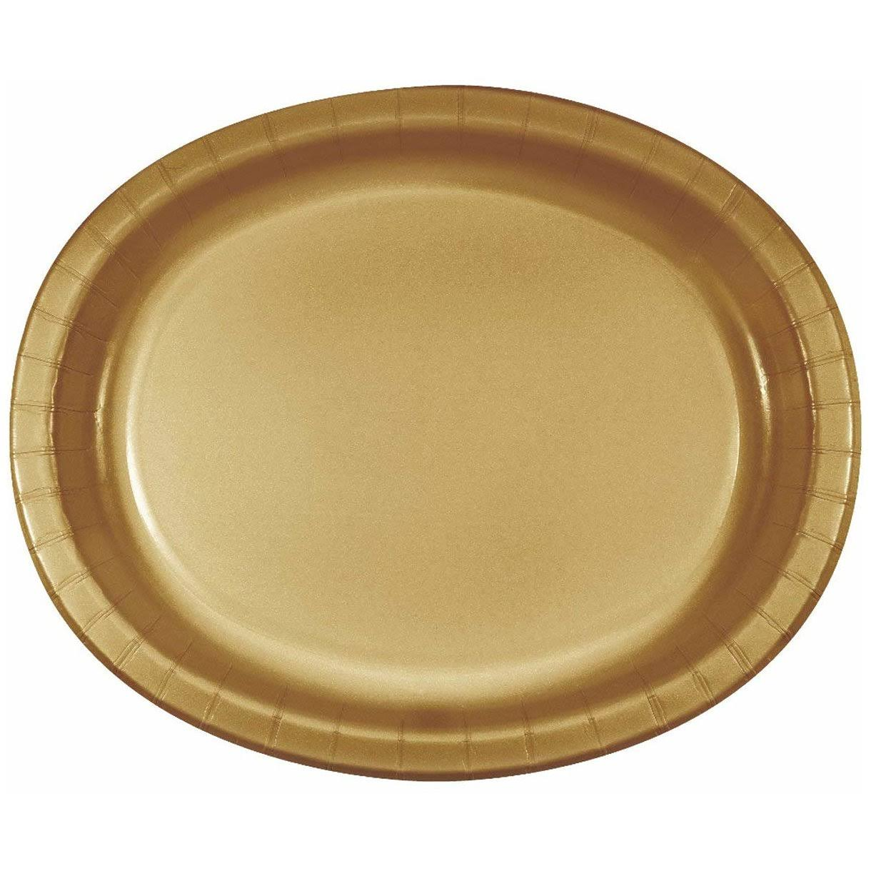 Creative Converting Oval Paper Platters - Glittering Gold, 8ct