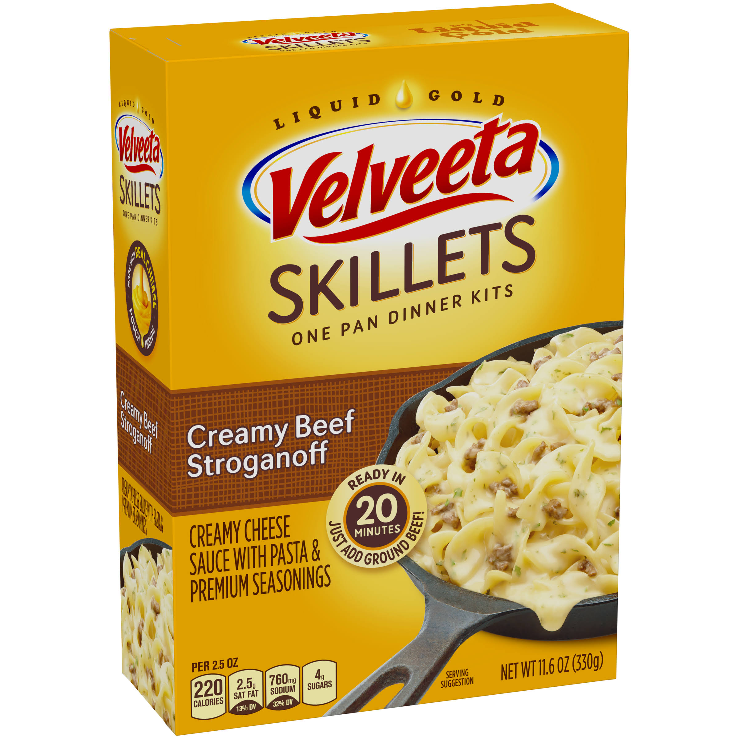 Kraft Velveeta Cheesy Skillets Dinner Kit - Creamy Beef Stroganoff, 11.6oz