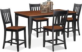 Value City Kitchen Table Sets by Nantucket Counter Height Table And 4 Slat Back Chairs Black And