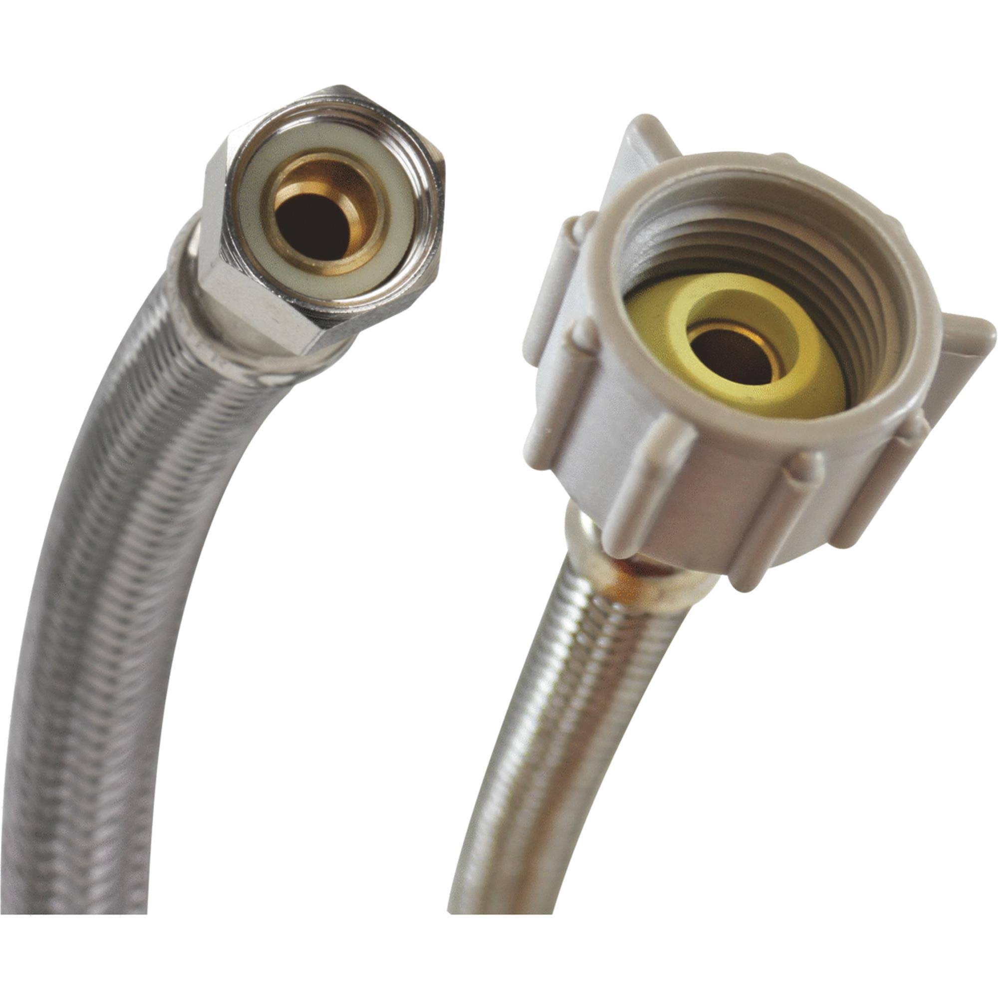 "Fluidmaster B1T16 Braided Stainless Steel Toilet Connectors - 3/8"" x 7/16"""