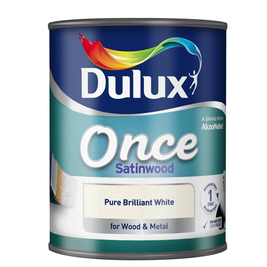 Dulux Once Satinwood Wood and Metal Paint - Pure Brilliant White, 750ml