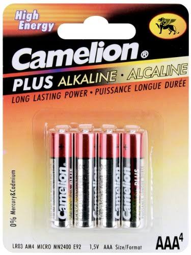 Camelion AAA Plus Alkaline Battery - 4 Pack