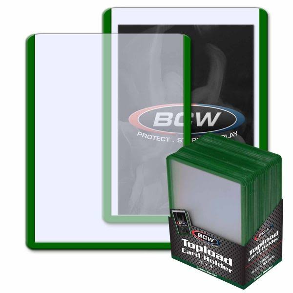 "BCW Topload Card Holder - Green Border, 3""x4"", 25ct"