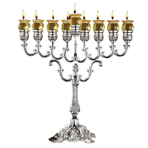 NER Mitzvah Silver Plated Oil Menorah - Fits Standard Chanukah Small Oil Cups and Large Candles - Olive Branches - 13 High
