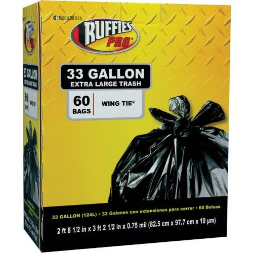 Ruffies Pro Extra Large Wing Tie Black Trash Bags