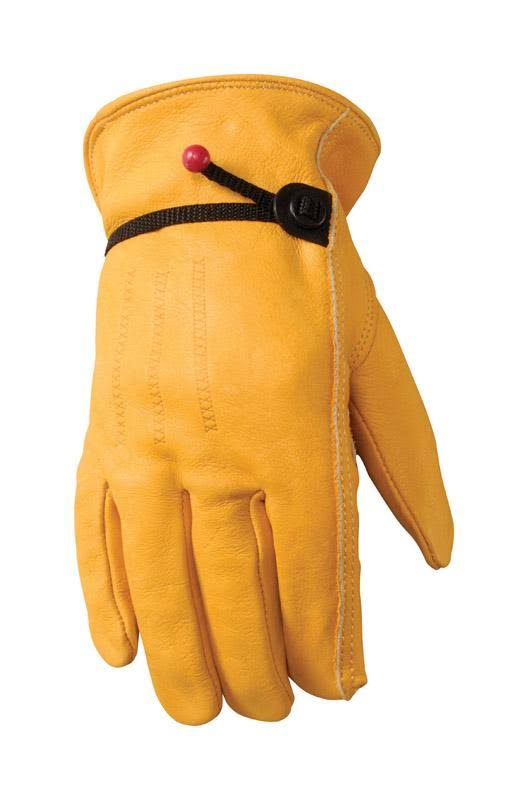 Wells Lamont Grain Cowhide Leather Work Gloves - Yellow, Medium