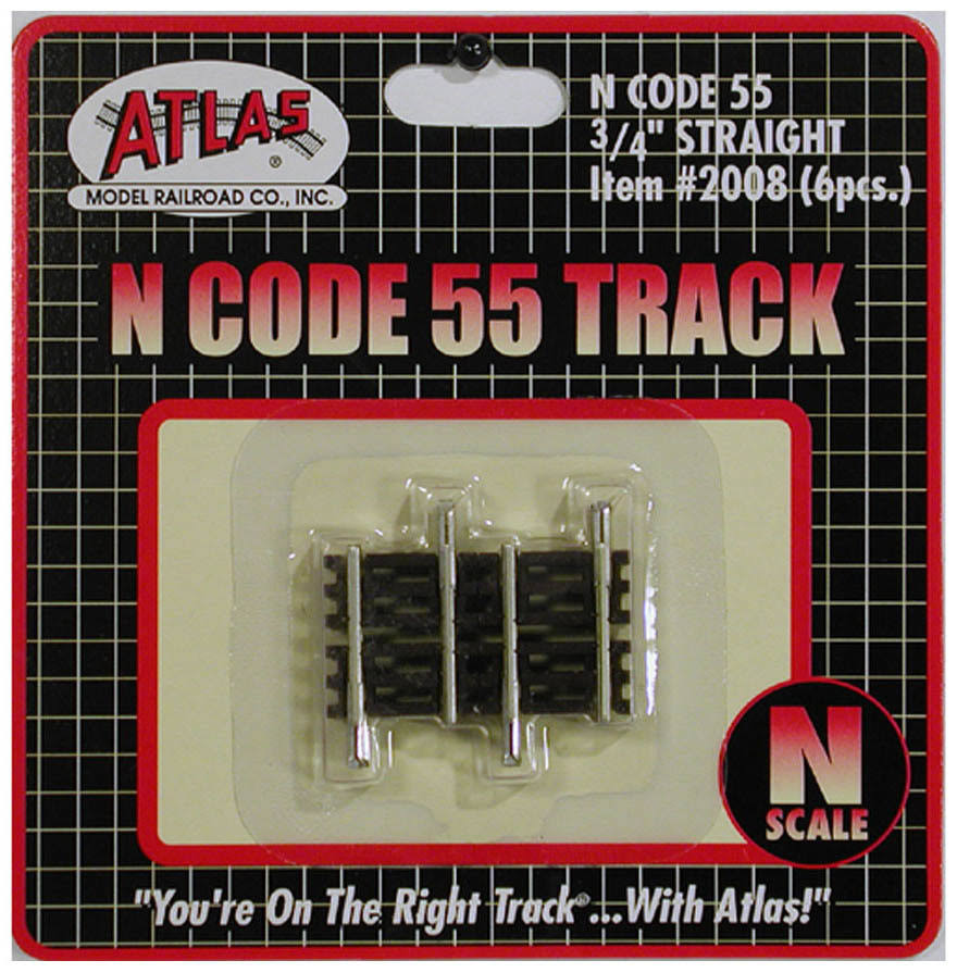 "Atlas 2008 N Code 55 .75"" Straight Track (6)"