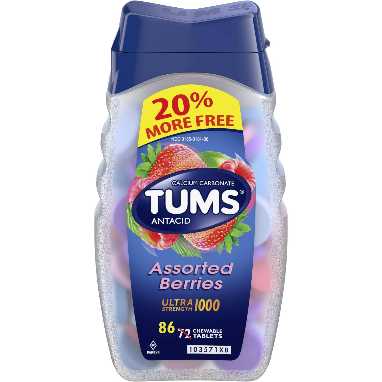 Tums Antacid Calcium Supplement - Ultra Strength 1000, Assorted Berries, 86 Chewable Tablets