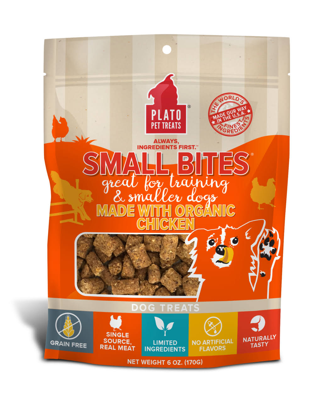 Plato Small Bites Organic Chicken Dog Treats - 6 oz