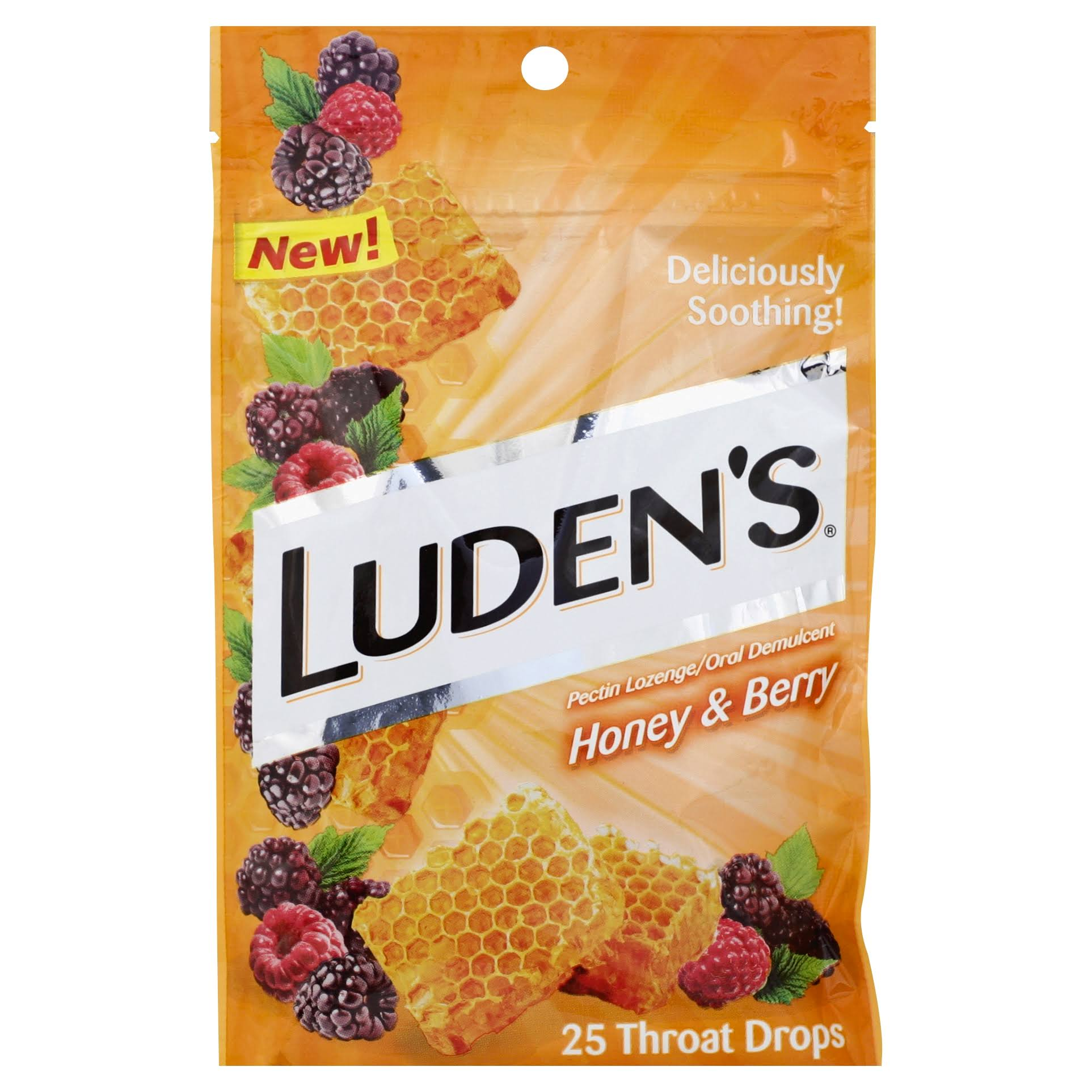 Ludens Throat Drops, Honey & Berry - 25 throat drops
