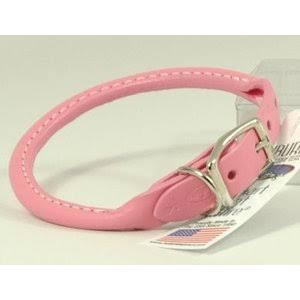 Auburn Leather Rolled Round Dog Collar - Baby Pink