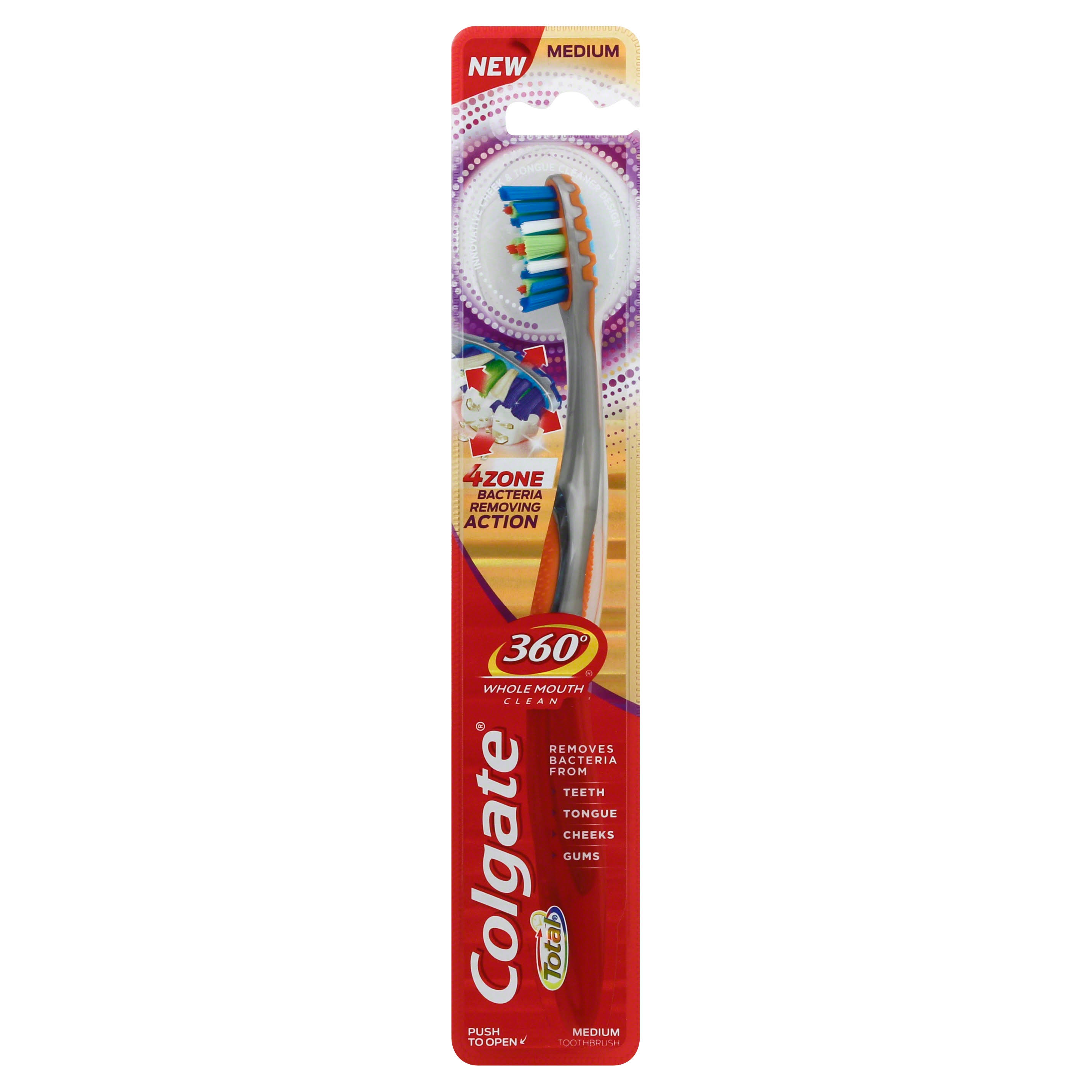 Colgate Total 360 Whole Mouth Clean Manual Toothbrush - 4 Zone, Medium, 2pk
