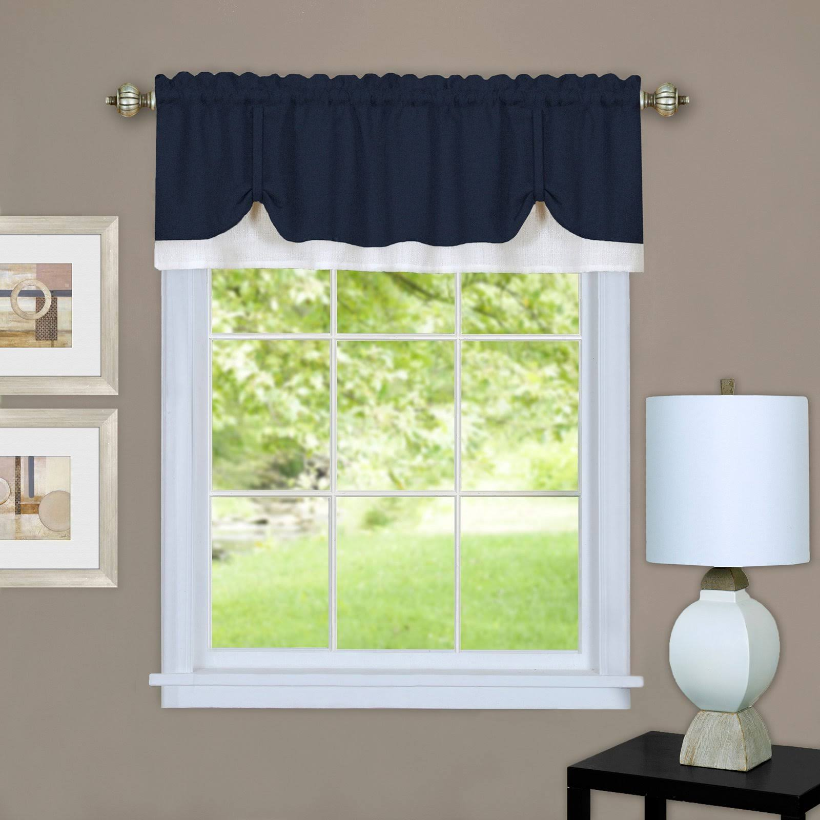 Achim Darcy Curtain Valance, Navy/White