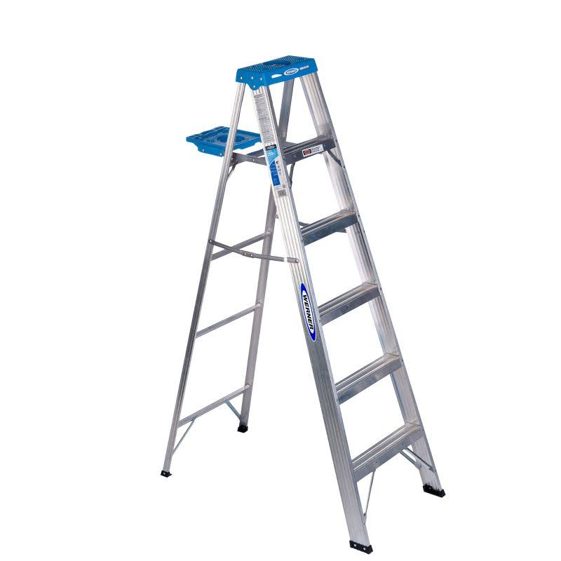 Werner Duty Rating Aluminum Step Ladder - 250lb Capacity, 6'