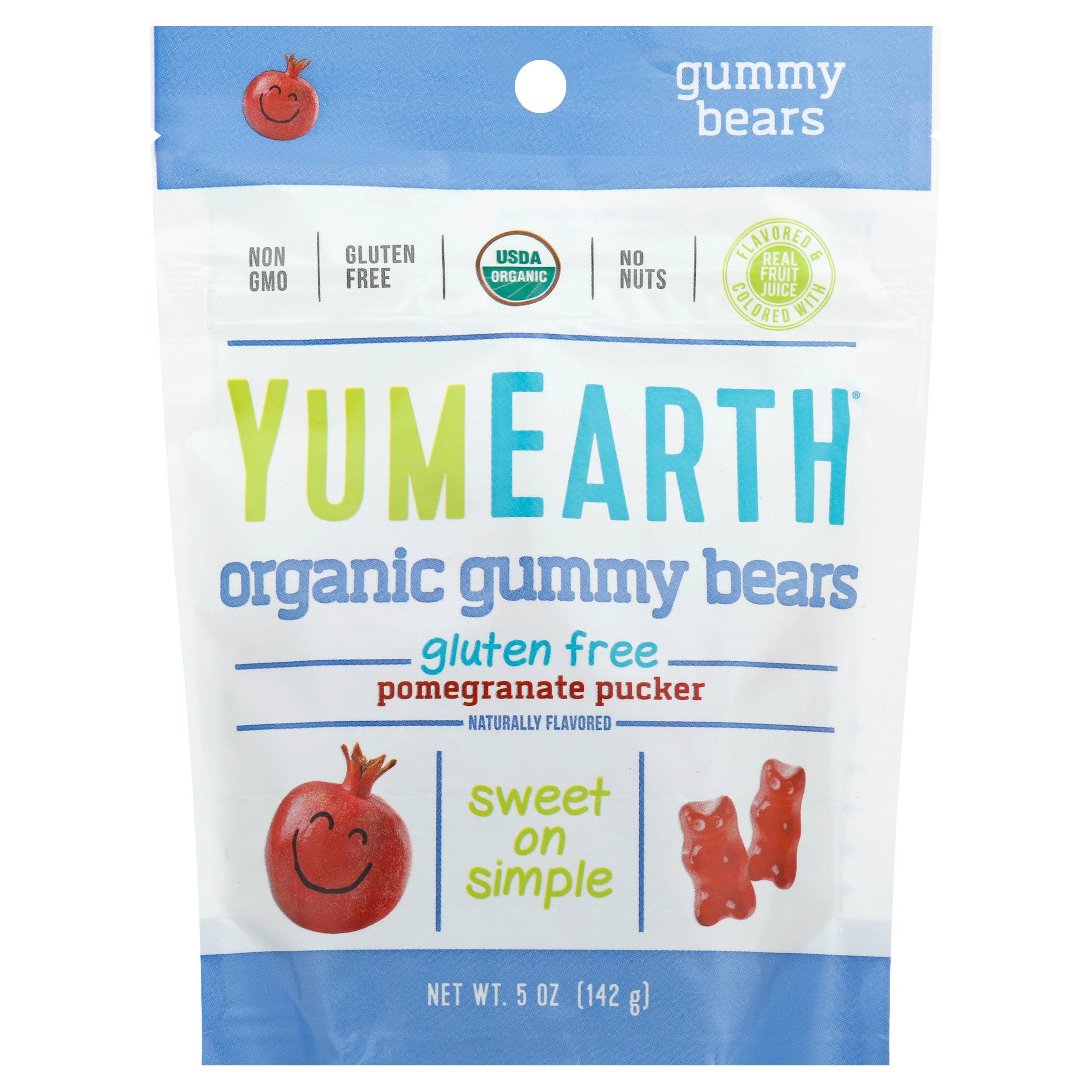 Yummy Earth Gummy Bears - Pomegranate, 142g