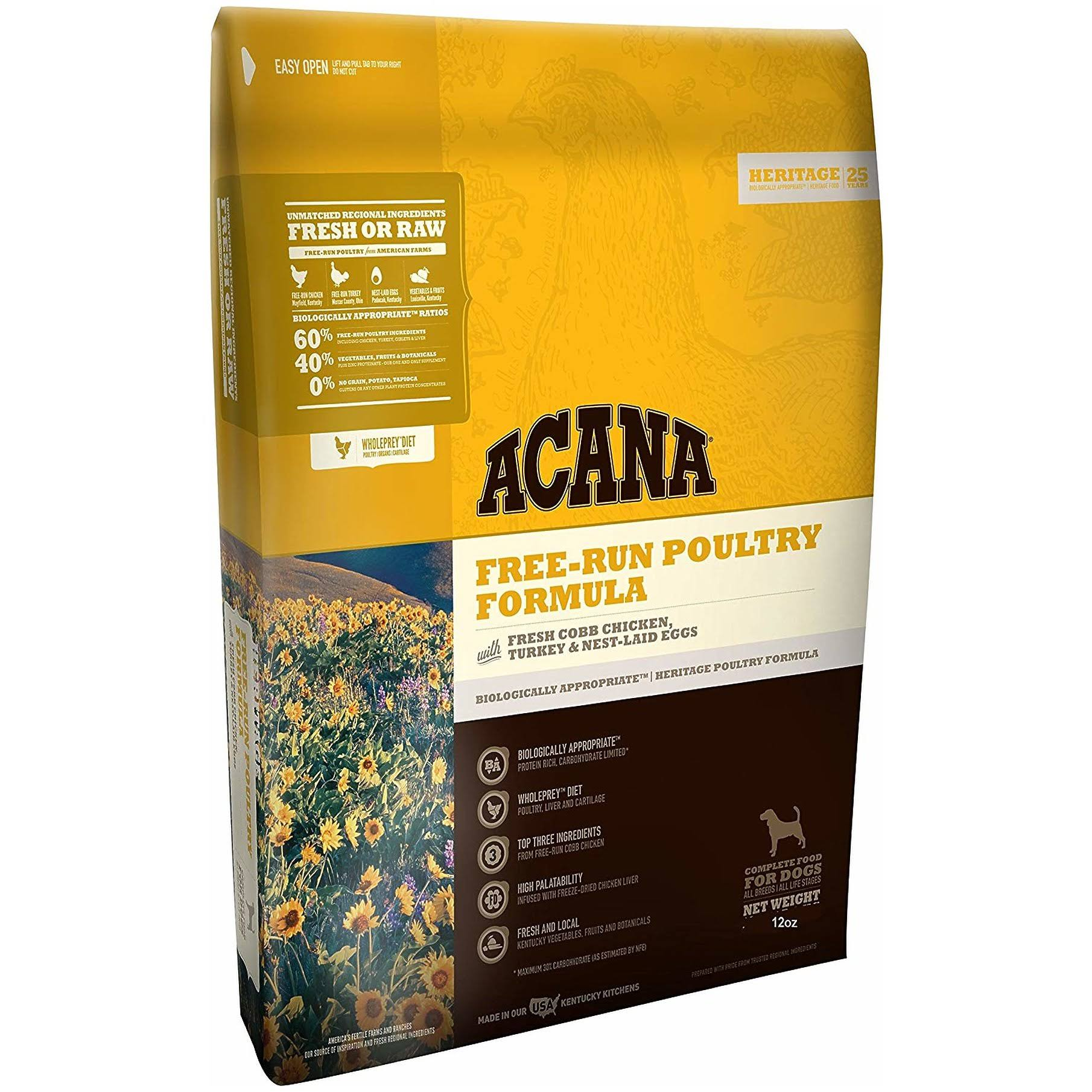 ACANA Free Run Poultry Heritage Dog Food 12 oz
