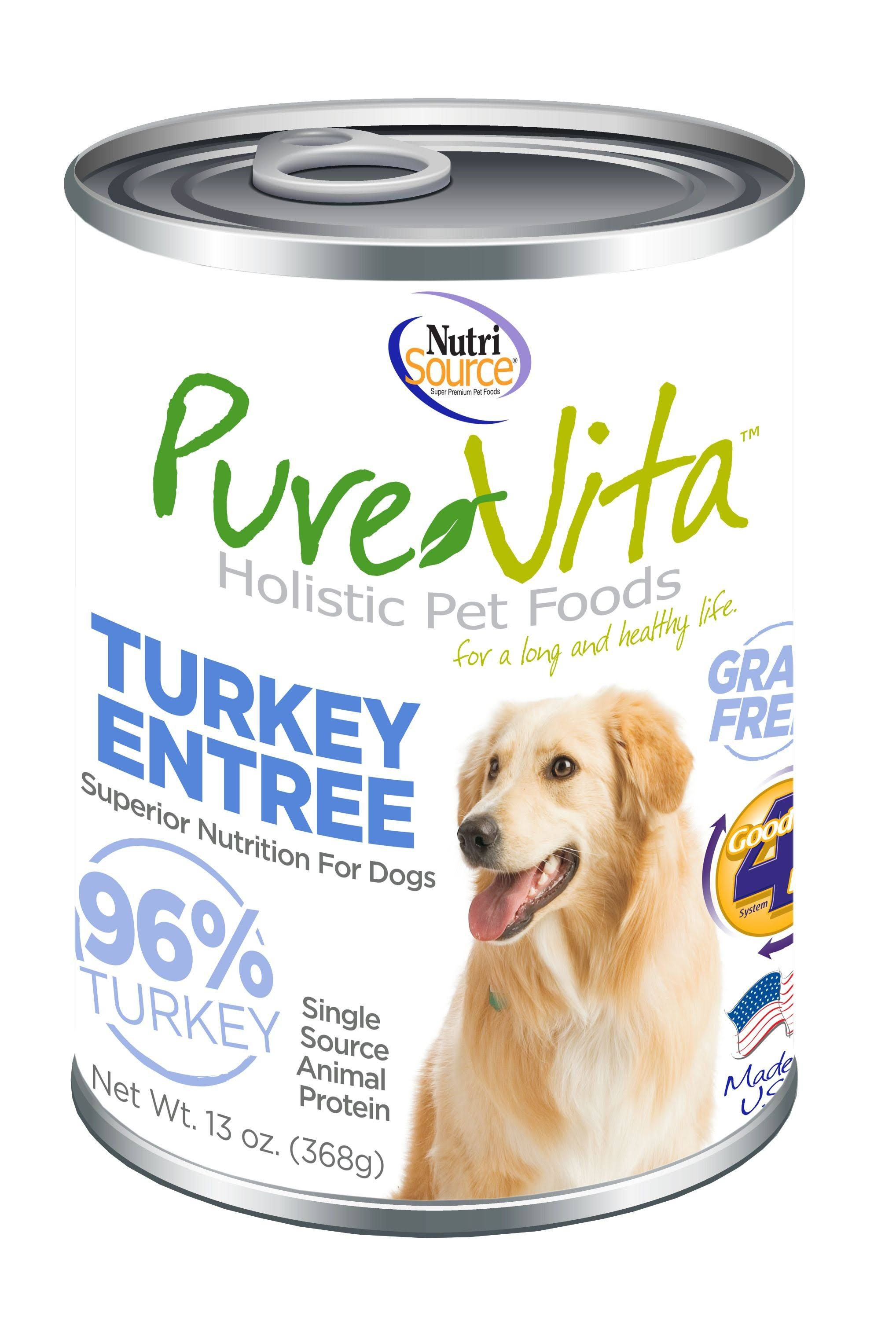 PureVita Turkey Entree 96% Turkey Grain-Free Wet Canned Dog Food, 13oz