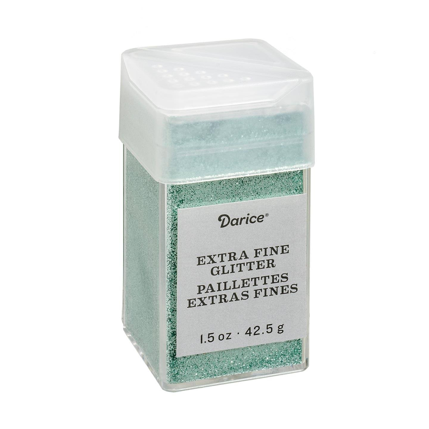 Darice Mint Extra Fine Glitter 1.5 Ounces Canister w/Pour or Shake Lid