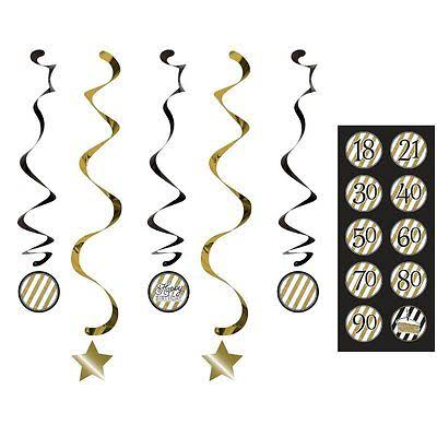 Creative Converting Dizzy Danglers - Black and Gold, Set of 5