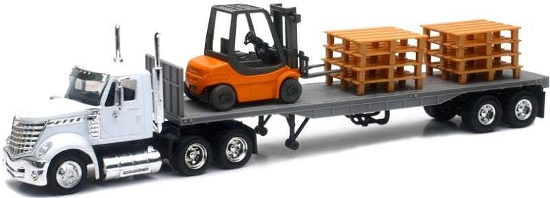 New-Ray 16643 International Lonestar with Flat Bed Hauling A Forklift