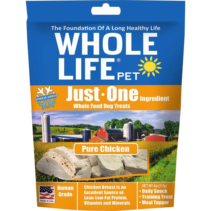 Whole Life Just One Grain Free Pure Chicken Freeze Dried Dog Treats - 3 oz