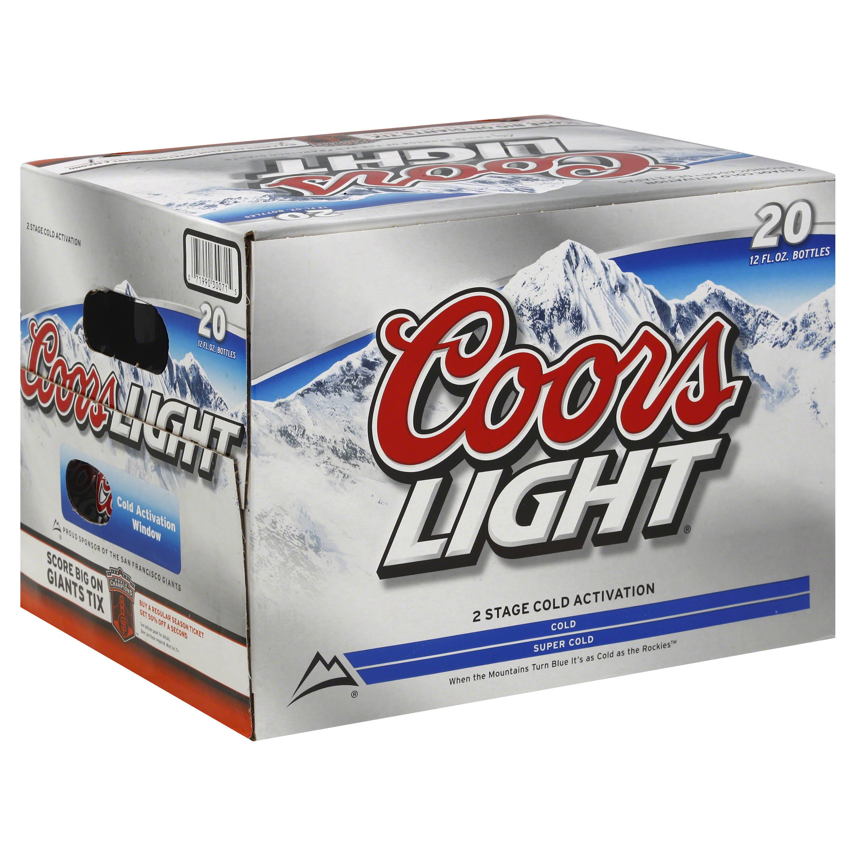 Coors Light Beer Bottles - 20 Pack