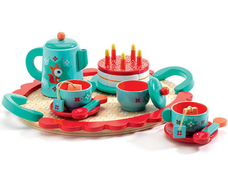 Djeco Fox's Party Tea Playset - with Toy Cake