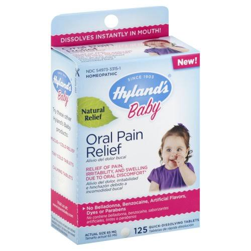 Hylands Baby Oral Pain Relief, 65 mg, Quick-Dissolving Tablets - 125 tablets