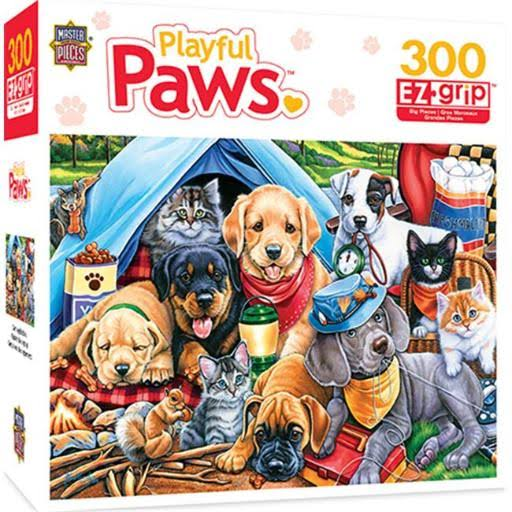 MasterPieces Playful Paws Camping Buddies Puppies and Kittens EZ Grip Jigsaw Puzzle - 300pcs