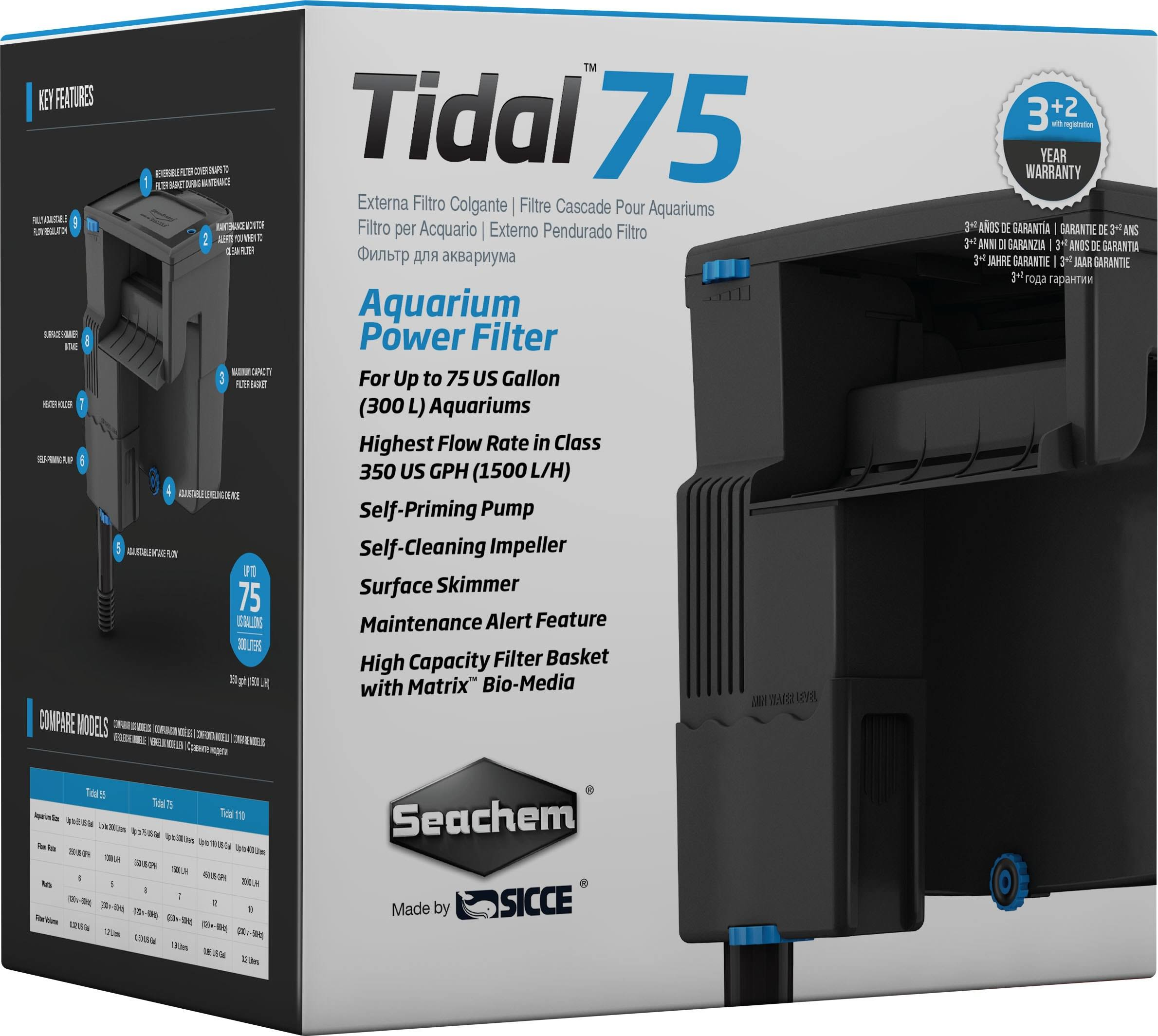 Seachem Tidal 75 Aquarium Power Filter - 75gal Tank