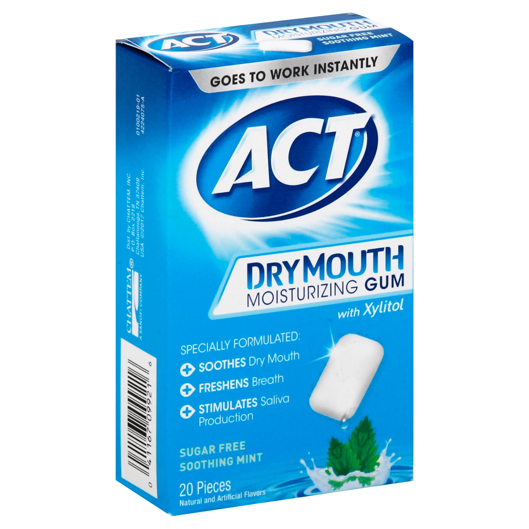 ACT Moisturizing Gum, with Xylitol, Sugar Free - 20 pieces