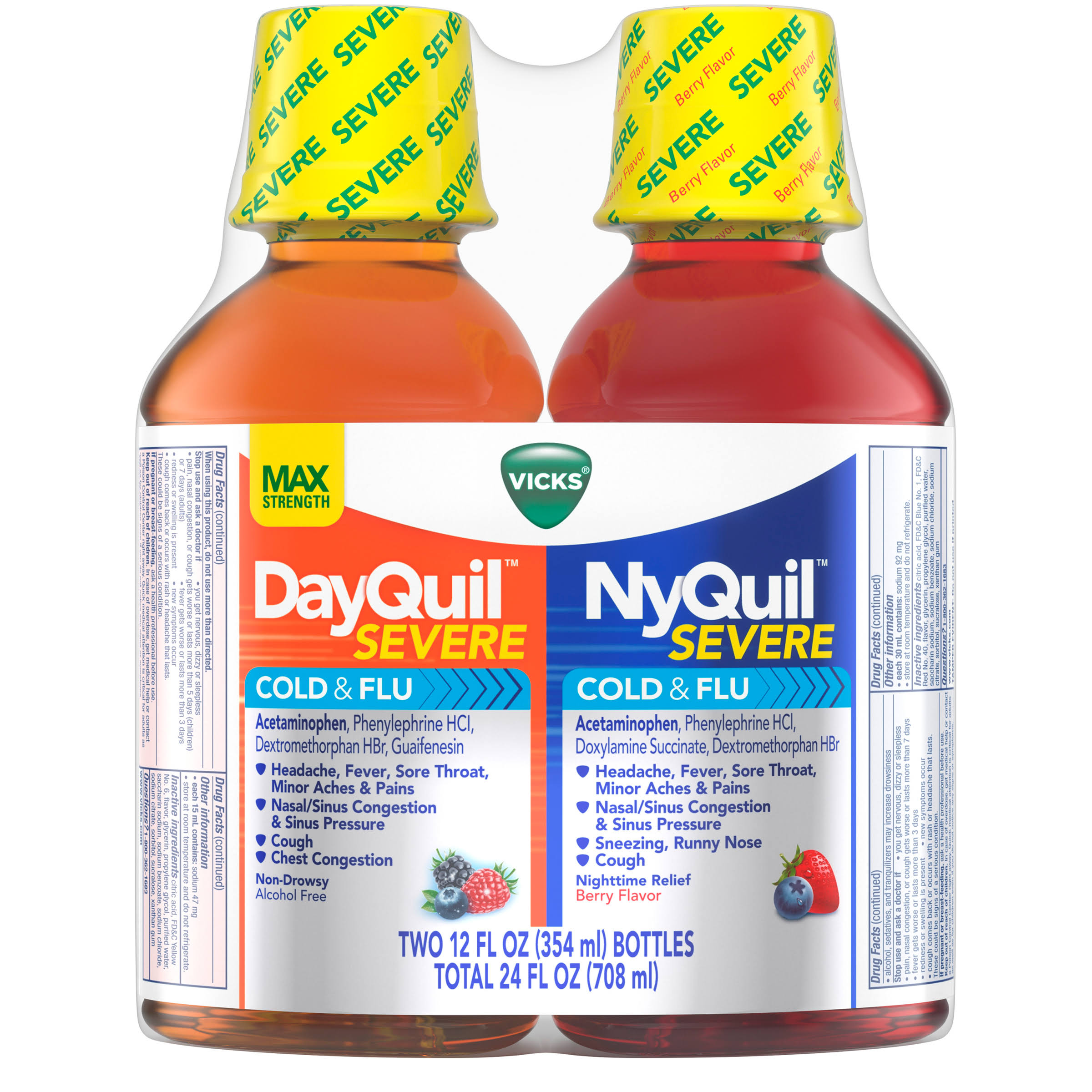 Vicks DayQuil and NyQuil Severe Cold & Flu Relief - 12oz, 2ct