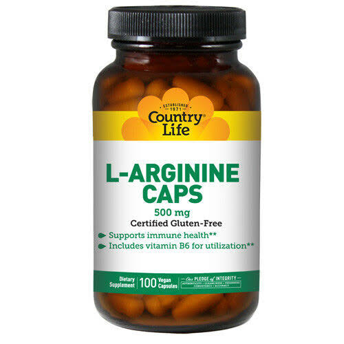 Country Life L-Arginine Caps 500mg Vegetarian Capsules - x100