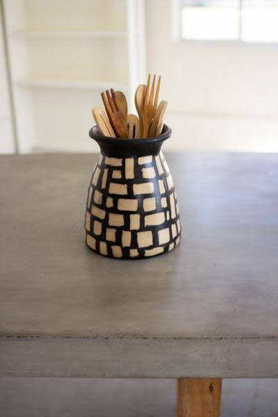 Kalalou H3578 Black and White Clay Lenca Vessel with Square Pattern