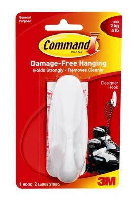 Command Designer Hook - White, Large