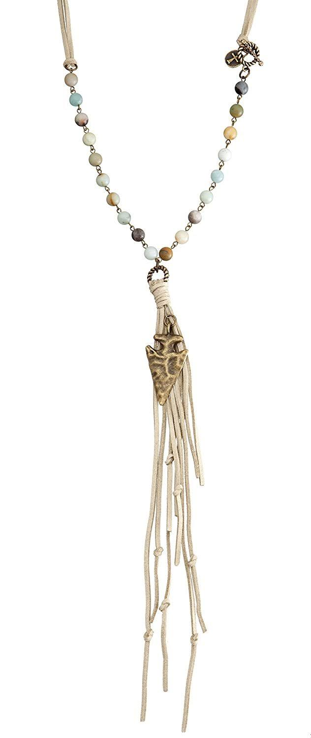West and Co. Natural Stone Bead and Faux Leather Necklace with Burnished Charm