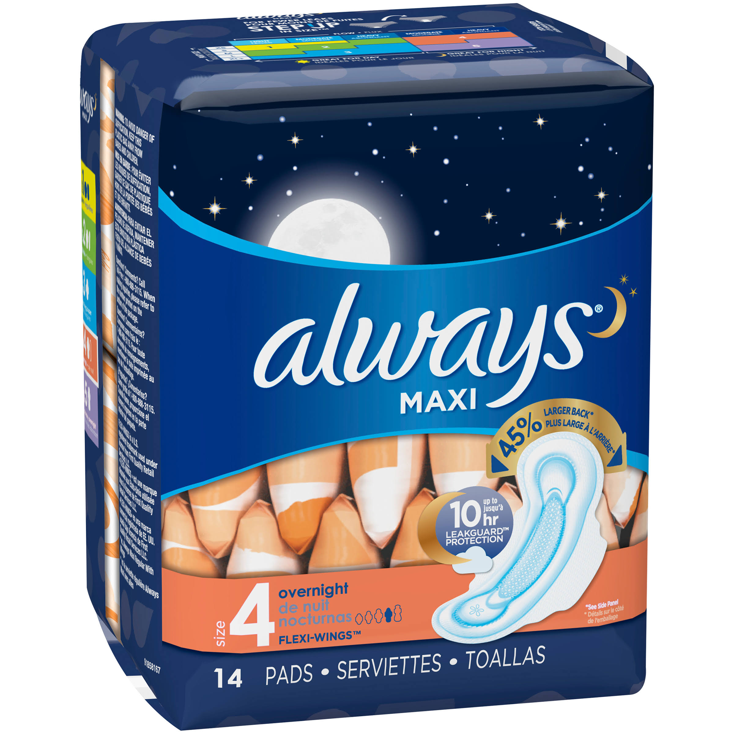 Always Maxi Flexi-Wings Overnight Pads - 14 Pads