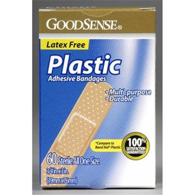 "Case of [24] GoodSense Plastic 3/4"" x 3"" Bandages 60 ct"