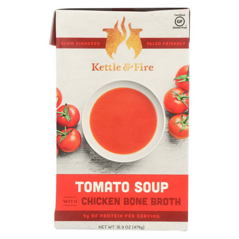 Kettle & Fire Soup, Tomato, with Chicken Bone Broth - 16.2 fl oz