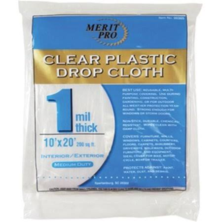 Dynamic Plastic Drop Cloth Flat Pack Package - 10' x 20', 1mil