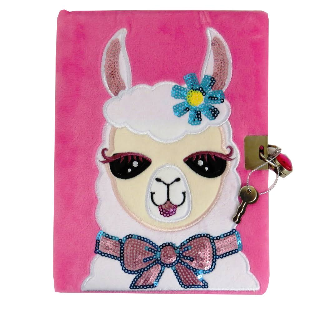Premier Stationery A5 Llama Design Emotionery Plush Padded Diary with Lock