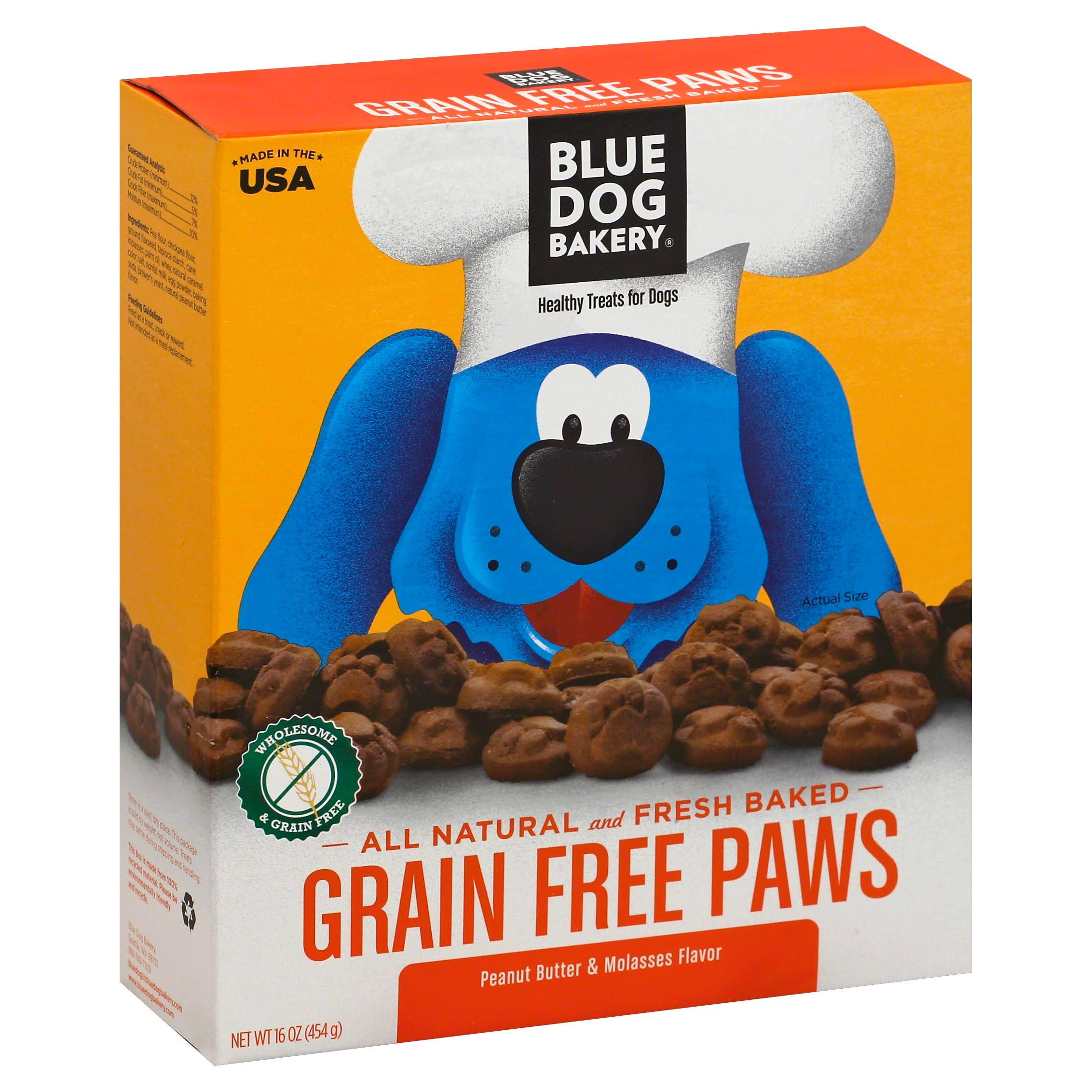 Blue Dog Bakery Healthy Treats For Dogs Grain Free Paws - Peanut Butter & Molasses