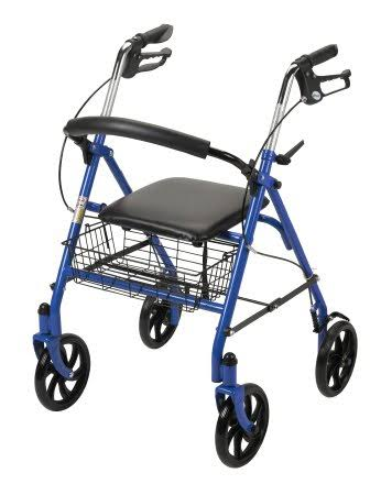McKesson 4 Wheel Rollator 31 to 37 in Blue Folding Steel 31 to 37 inch
