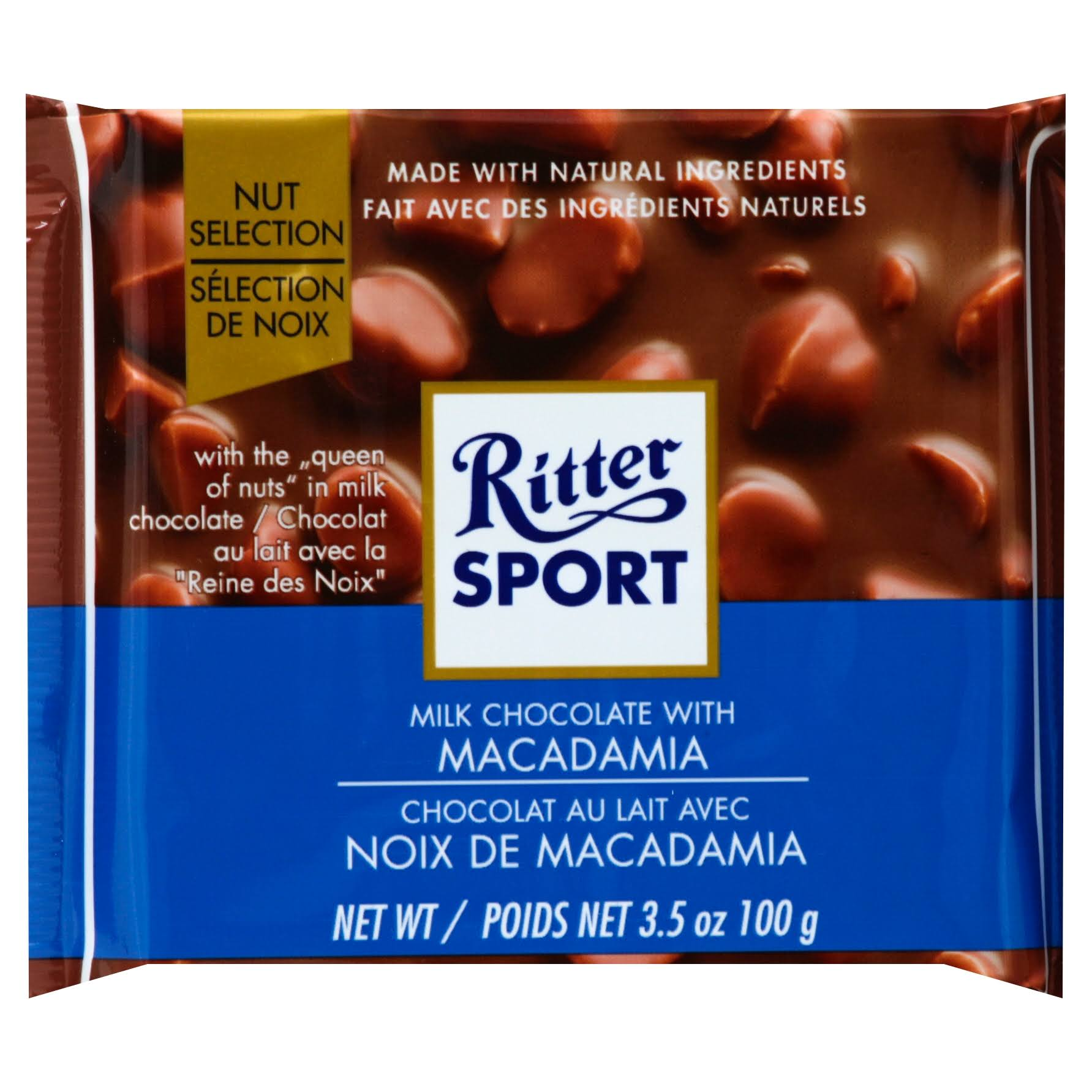 Ritter Sport Milk Chocolate, with Macadamia, Knick-Pack - 3.5 oz