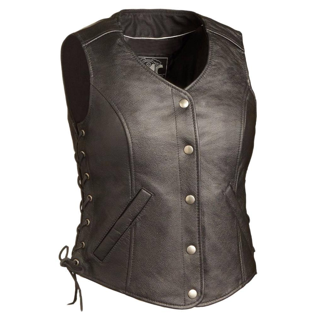 First Manufacturing FIL566CSL-L-BLK Honey Badger Women's Leather Vest (Large, Black)